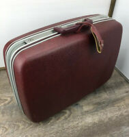 Vintage Samsonite Hard Shell Medium Suitcase Luggage Maroon Made in USA *NO KEY*