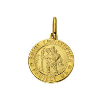 14K Solid Yellow Gold Religious St. Christopher Small Medal Pendant 12.5mm 1/2""
