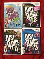 Just Dance 2 3 4 Kids Nintendo Wii) Lot of 4 Games - Complete & Tested