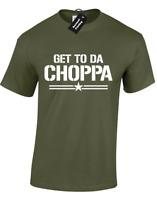 GET TO DA CHOPPA MENS T-SHIRT FUNNY ARNIE RETRO FAN DESIGN GYM