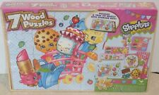 NEW Shopkins 7 Wooden Puzzles & Storage Box