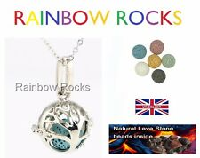 Silver Aromatherapy Tree of Life Necklace Locket Diffuser Lava Stone Bola