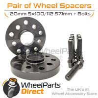 Wheel Spacers (2) & Bolts 20mm for Skoda Fabia [Mk3] 14-20 On Aftermarket Wheels