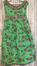 My Vintage Baby Girls Green Cheetah Floral Dress Summer Sleeveless 10