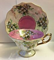 ANTIQUE MOTHER OF PEARL IRDESCENT PINK FOOTED TEA CUP AND SAUCER * JAPAN