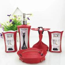 Lady Style Bathroom Accessory Set Tumbler Soap Dish Dispenser Toothbrush Holder