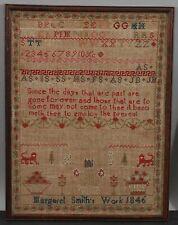 Antique 1846 Folk Art Sampler Embroidery Alphabet, Strawberry Border & Poem NR