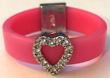 Sz8.5 Band Ring w/ CZ Cutout Heart & Bright Pink Rubber 925 Sterling Silver