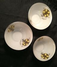 Georges Briard 3 Cereal / Fruit Bowls Flowers Frosted