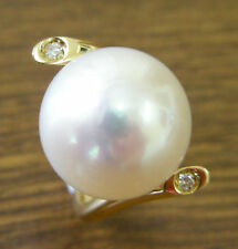 14,9mm PERLE AUSTRALIENNE DES MERS DU SUD BLANC+DIAMANTS+BAGUE OR 18K+CERTIFICAT