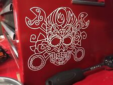 Greaser Rockabilly Wrench Sugar SKULL Tattoo Style Decal/sticker