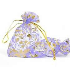 20pcs 7x9cm Organza Pouches Gift Jewellery Bags Rectangle Purple Flowers