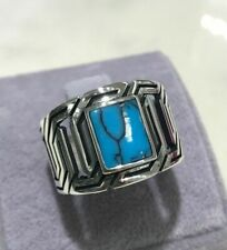 Handmade Turkish 925 Sterling Silver Turquoise Ring Size 8