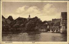 Walsrode Niedersachsen alte Ansichtskarte ~1930 Kolk Partie am Fluss Wehr Brücke