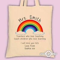 PERSONALISED Tote Bag Thank You Teacher School Gift Rainbow Natural