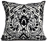 Suzani Moroccan Texture Black & White Wool Decorative Cushion Throw Pillow Cover