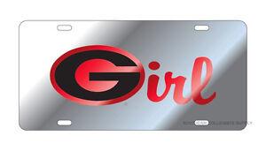 "UGA GEORGIA Bulldogs Mirrored Silver ""G Girl"" License Plate / Car Tag"