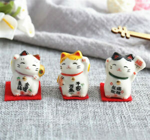 Set of 3 Japanese Ceramics Maneki Neko Lucky Cat Figurines Waving Fortune Decor