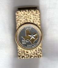 Texas State Quarter Gold on Silver Hinge Money Clip Gift Set Free Shipping + Box