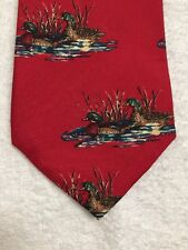 """DUCKS UNLIMITED MENS TIE RED WITH PATCH PAINTS OF ducks ON THE LAKE 59x4"""""""
