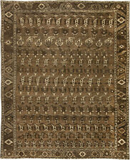 Antique Heriz Ivory and Brown Handwoven Wool Rug BB2018