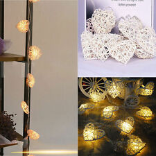 10LED Battery Powered Heart Rattan String Fairy Lights Warm White Wedding Party