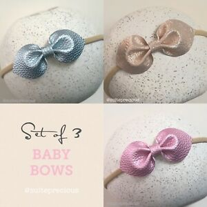 Set of 3 Kiss Bows Baby Toddler Faux Leather Nylon Headbands - Pink, Blue, Blush
