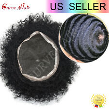 Afro Curly Men Hair System Full Lace Black Men Toupe 10MM Afro Wavy 1B Off Black