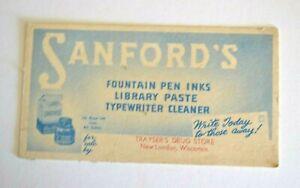 Vintage New London, Wisconsin Sanford's Ink Blotter - Trayser's Drug Store