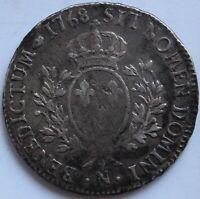 LOUIS XV ECU AU BANDEAU 1768 N