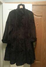 Vintage Women's Rabbit Fur Long Dolman Sleeve Coat Sz Small