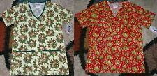 2 pc Christmas Scrub Top Bottom Pockets Patch Leaves & Jingle Bells Print Small