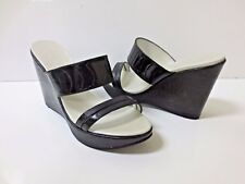 ROBERT CLERGERIE Black Reptile Embossed Leather Double Strap Sandals Shoes 7 EUC