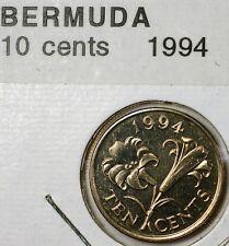 1994 Bermuda Ten Cents Queen Elizabeth Brilliant Uncirculated Lily Coin