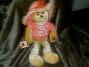 Chantilly Lane Musical Teddy Bear Mom Pearls Sings That's What Friends Are For