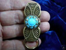 #E576)  Blue Czech Eyeglass leaf pin pendant ID badge holder