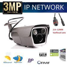 H.264 Onvif POE HD 3mp 1080p Security Waterproof IP Bullet Camera 2.8-12mm Lens