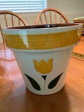 "Stagl Pottery YELLOW TULIP 6.75"" FLOWER POT planter yellow band"