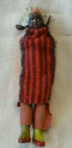 """Vintage NATIVE AMERICAN INDIAN Dress DOLL Celluloid Girl 5"""" Possibly Handcrafted"""