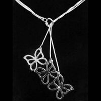 ASAMO Damen Halskette 3 Schmetterling Anhänger Sterling Silber plattiert HA1043