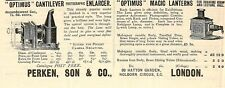 Optimus Enlarger and Magic Lanterns Perken & Son London Scientific print ad 1900