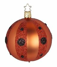 """Inge Glas """"Dotted Stripes"""" 8cm Ball Glass Ornament -Made Germany (#401)"""
