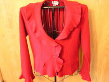Coldwater Creek 100% Wool Red Long Sleeve Sweater, Ruffles Size M, Solid V-Neck