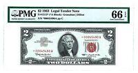 1963 $2 TWO DOLLAR BILL RED SEAL LEGAL TENDER  PMG EPQ GEM 66 !  S/N *00045490A