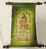 Antique Original Painting On leather Holy Warrior Man Signed Art