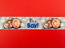 Adorable ITS A BOY Blue Baby Grosgrain Ribbon 22mm X 1MTR