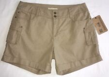 NWT Ruff Hewn Linen Blend Cuffed Cargo Shorts Size 14P Washed Tan $59