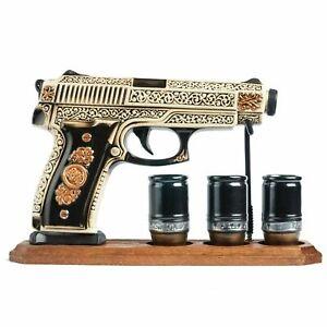 """SOUVENIR CERAMIC BOTTLE-SHTOF """"GUN, PISTOL"""" DECANTER FOR VODKA WHISKEY 0.5L"""
