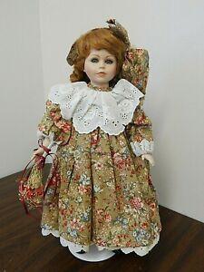"SEYMOUR MANN Vintage 17"" Auburn Porcelain Doll in Brown Cotton Print Dress"
