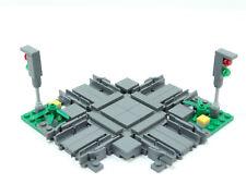 LEGO MOC Eisenbahn Schienen Kreuzung mit 2 Signale Neu
